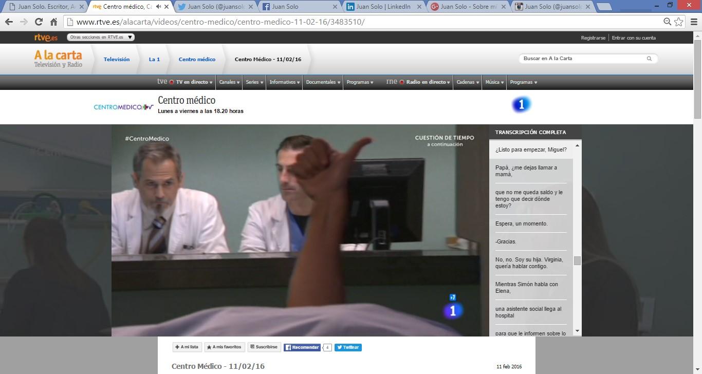 JUAN SOLO ACTOR - CENTRO MÉDICO - TVE - TELEVISIÓN ESPAÑOLA - JUANSOLO.ES - #JUANSOLO - ZEBRA PRODUCCIONES - TWITTER - FACEBOOK - GOOGLE+ - TODO OK!