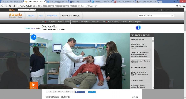 JUAN SOLO ACTOR - CENTRO MÉDICO - TVE - TELEVISIÓN ESPAÑOLA - JUANSOLO.ES - #JUANSOLO - ZEBRA PRODUCCIONES - TWITTER - FACEBOOK - GOOGLE+