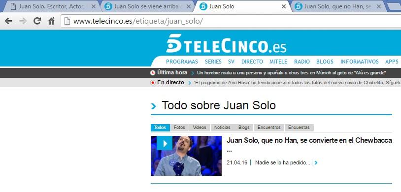 Etiqueta Juan Solo en la Web de Telecinco - Juan Solo se convierte en Chewbacca en el especial Día del Libro de Pasapalabra con Christian Gálvez