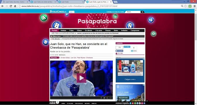 Juan Solo - Chewbacca - Pasapalabra - Telecinco - Christian Gálvez - Día del Libro - Star Wars