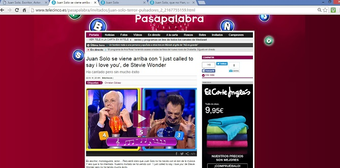 Juan Solo - Chewbacca - Pasapalabra - Telecinco - Christian Gálvez - Día del Libro - Star Wars - Stevie Wonder