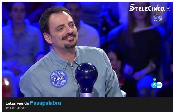 Juan Solo en Pasapalabra, presentado por Christian Gálvez en Telecinco: Especial Pasapalabra Día del Libro