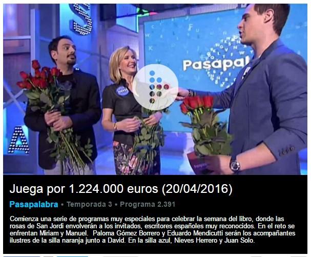 Nieves Herrero y Juan Solo en Pasapalabra, presentado por Christian Gálvez en Telecinco - Especial Pasapalabra Día del Libro