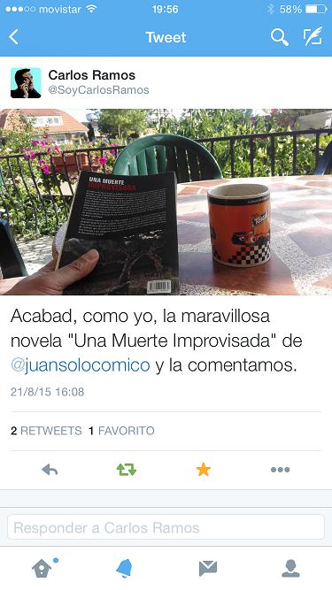 Carlos Ramos con Una muerte improvisada - Una muerte improvisada - Carlos Ramos - Juan Solo - Novela negra - Cloverdale - Vaughan Libros - Vaughan