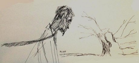 El detective y el roble herido - Borja Sumozas - Ilustración inspirada por Una muerte improvisada - Una muerte improvisada - Novela negra - Juan Solo - Juan Solo escritor