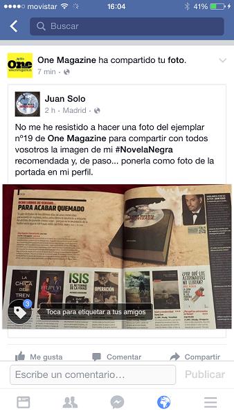 Una muerte improvisada en ONE Magazine - Una muerte improvisada - Revista ONE - ONE - ONE Magazine - Juan Solo - Novela negra - Cloverdale - Vaughan Libros - Vaughan