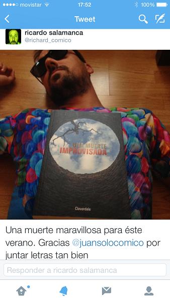Ricardo Salamanca con Una muerte improvisada - @richardcomico - Ricardo Salamanca - Una muerte improvisada - Juan Solo - Juansolo.es - #JuanSolo - Novela Negra - Vaughan - Vaugah Libros - Vaughan Tienda