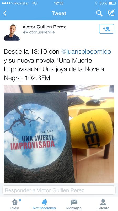 Víctor Guillén Pérez con Una muerte improvisada en la Cadena SER - Cadena SER - 102.3 FM - Una muerte improvisada - Juan Solo - Juansolo.es - #JuanSolo - Novela Negra - Vaughan - Vaugah Libros - Vaughan Tienda